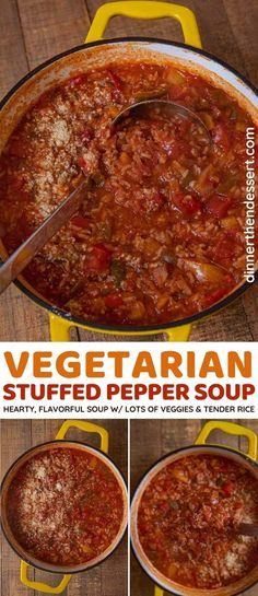 Vegetarian Stuffed Pepper Soup is hearty, colorful, and packed with flavors from delicious veggies then made more filling with rice and topped with cheese! High Protein Vegan Recipes, Healthy Breakfast Recipes, Vegetarian Recipes, Delicious Recipes, Tasty, Quick Easy Healthy Meals, Easy Keto Meal Plan, Easy Meals, Vegetarian Stuffed Peppers
