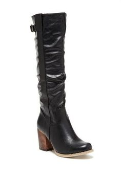 Wood stacked heel tall boots