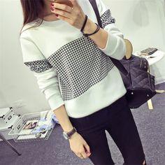 f01142ba55 Autumn Style Women s Geometric Printed Hoodies New Fashion Loose Pullovers  Casual Harajuku Grid Sweatshirt HO8328-in Hoodies   Sweatshirts from Women s  ...