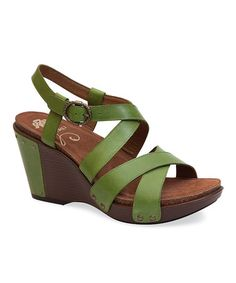 Love this Green Frida Leather Sandal - Women on #zulily! #zulilyfinds