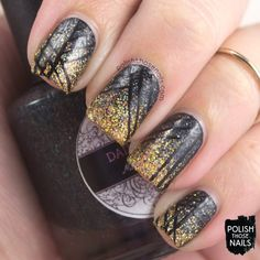 Glittery Gradient Goodness // 31 Day Challenge // Polish Those Nails // nail art - indie polish - black - gold - stripes - glitter