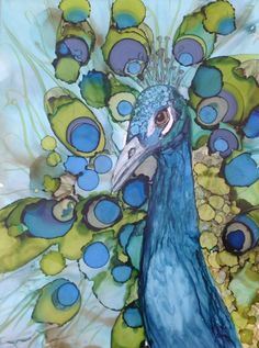 Peacock Bird Alcohol Ink Painting Art Online alcohol ink ecourses at www.kelliechassefineart.com