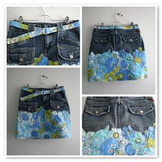 1. dringbelt, 2. front0, 3. back0, 4. back1  This  a pair of jeans and a vintage bed sheet refashioned into a skirt. It took about nine days (off and on) to cut, applique and stitch the flowers on but totally worth it.  I wear it proudly and it is super comfortable.