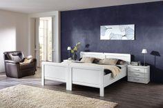 Schlafzimmer SAPHIR in Weiß Matt: Variokompaktbetten: ca. 100 x 200 cm, Nachtschränke: ca. 58 x 50 x 39 cm, mit 3 Schubkästen