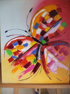 C'est une interprétation sur une toile de coton de 55,5/45 cm à l'huile d'un papillon abstrait de Far (ci-dessous).La préparation :Sur une toile en coton, j'ai passé une couche de*Gesso (s'il y a ...