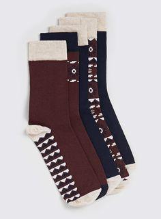 Aztec Printed 5 Pack Of Socks
