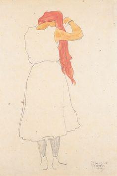Stehende beim Kämmen, 1909, Egon Schiele