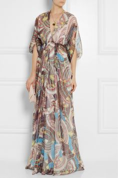 Issa Printed silk-chiffon and Lurex gown