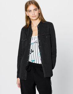 Pull&Bear - dames - blouses en hemden - denim western overhemd - zwart…