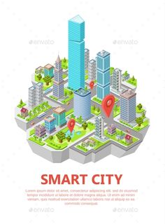 Buy Isometric Smart City Vector Illustration by vectorpouch on GraphicRiver. Isometric smart city vector illustration of residential town infrastructure. Isometric flat design houses and buildin. City Vector, Map Vector, Vector Free, Isometric Art, Isometric Design, Teller An Der Wand, Location Pin, Architecture Model Making, Flat Logo