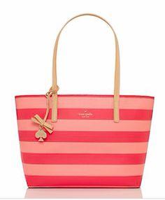Pink and coral striped Kate Spade handbag