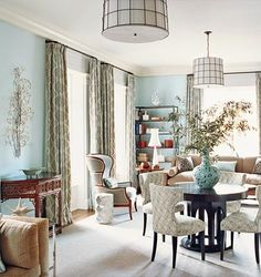 Large dining room with modern silver pendant lighting and upholstered tufted dining chairs! Living Dining Combo, Dining Room Blue, My Living Room, Dining Rooms, Small Living, Condo Living, Dining Area, Living Spaces, Tufted Dining Chairs