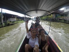 Took a pump boat ride to the Floating Market, Bangkok Thailand