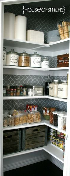 This pantry looks like it was taken right out of my mind!! :) Glass storage, fun wallpaper, white... Those crates! Remember & Recreate once I have a pantry :)