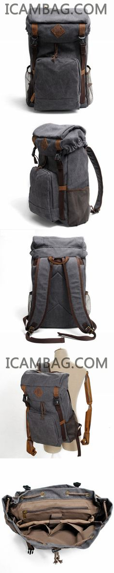 bb4a3f74d66e Leather Travel Duffle Bag-icambag · LEISURE MEN S AND WOMEN S LEATHER  CANVAS BACKPACK LAPTOP BACKPACK 9134