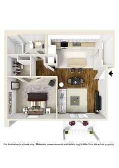 New 1 Bedroom 1 Bathroom Floor Plan 5