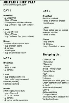 Military 3 day diet plan, shopping list. I'll see if I lose weight from this.   G;)