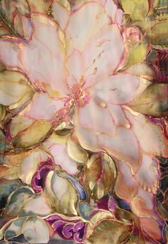 Peach Magnolia Silk Tapestry by silkartcreations.net