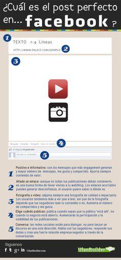 El post perfecto en FaceBook #infografia #infographic #socialmedia E-mail Marketing, Facebook Marketing, Marketing Digital, Business Marketing, Internet Marketing, Online Marketing, Social Media Marketing, Mobile Marketing, Marketing Strategies