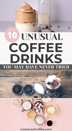There are so many different coffee drinks and some you may have never tried. If you are looking for some unique coffee drinks to make at home or just curious to see how many you know, why not read our list of 10 unusual specialty coffee drinks! Healthy Coffee Drinks, Cold Coffee Drinks, Coffee Smoothie Recipes, Cold Brew Coffee Recipe, Coffee Recipes, Smoothie Bar, Starbucks Recipes, Drink Coffee, Different Coffee Drinks