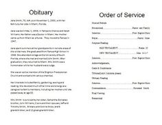 Newborn Baby Obituary Template | Eulogies, Death Notices etc ...