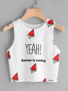 Shop Watermelon And Slogan Print Tank Top online. SHEIN offers Watermelon And Slogan Print Tank Top & more to fit your fashionable needs. Girls Fashion Clothes, Teen Fashion Outfits, Mode Outfits, Women's Fashion Dresses, Girl Outfits, Fashion Fashion, Fashion Black, Lolita Fashion, Fast Fashion