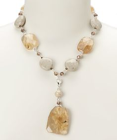 Love this Amber Stone Pendant Necklace on #zulily! #zulilyfinds