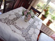 Exclusive Long Vintage white(175x300cm)  Battenburg Lace Cotton  tablecloth $99.00