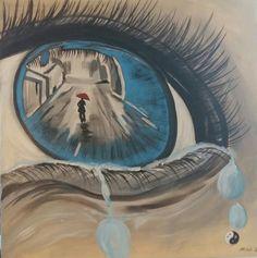 Abschiedsschmerz Acryl auf Leinwand Format 100x100 Surrealism, Fantasy World, Canvas, Pictures