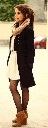 How to make a white dress work in the winter. coat and scarf complete this chic look. winter fashion style
