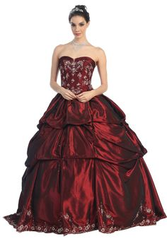 Burgundy Corset Embroidery Wedding Formal Ball Gown - Front View