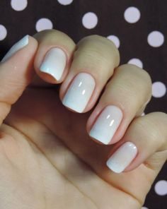 White ombre nails.