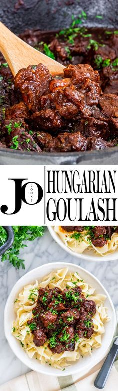 A classic Hungarian Goulash with melt-in-your mouth, tender beef, slowly cooked . - A classic Hungarian Goulash with melt-in-your mouth, tender beef, slowly cooked in an incredibly ri - Meat Recipes, Crockpot Recipes, Dinner Recipes, Cooking Recipes, Healthy Recipes, Fodmap Recipes, Oven Cooking, Healthy Soup, Beef