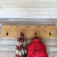 Beautiful wedding gift of personalised solid oak coat rack from www.holderandhook.co.uk