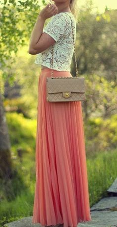Lace shirt, long orange maxi skirt and hand bag