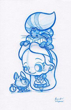 Blue Doodle #3: Alice in Wonderland!   Spent a good solid 2 …   Flickr