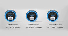 Vandy Vape Mesh Wire for Mesh RDA is available now, it has three types and all are 5 feet long and perfect in quality. Vape Coils, Wire Mesh, Pure Products, Things To Sell, Metal Lattice, Wire Mesh Screen