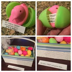 This Peep in an egg is perfect for an Easter gender announcement. #pinkorblue #genderreveal #babyreveal