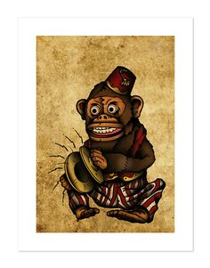 Jim Jam the Musical Monkey Toy Playing Cymbals, Neo-Traditional Tattoo Flash, Old School, Art Print 12x16