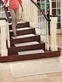 Add nonslip safety to your stairs with carpet treads | Solutions.com #Stairs #Carpet #Rug #Safety