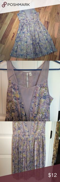 LC Lauren Conrad lilac floral dress LC dress with floral print. Also has pleat detail and sheer straps. Elastic waist. Knee length. LC Lauren Conrad Dresses Mini