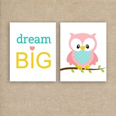 Owl Printable - Dream Big Typography with Instant Download - Nursery Art Prints - Pink and Turquoise