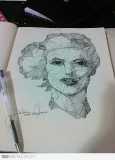 Geometric Portrait. Students will draw only straight lines to break down their portrait into shapes using a ruler. Each individual shape can then be broken down further if desired. (no artist found)