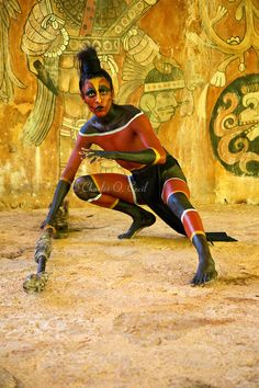 Mayan Dancer Representing a Coral Snake. Xcaret, Riviera Maya, Yucatan, Mexico.