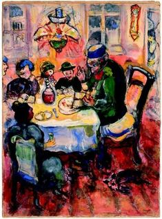 Passover Painting by Marc Chagall with Elijah at the Open Doorway