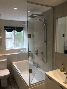 Frameless Bifold Bath Shower Screen To Open Ended Bath