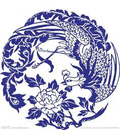 凤凰牡丹 peony phoenix Chinese Patterns, Japanese Patterns, Chinese Design, Japanese Design, China Art, Blue China, Willow Pattern, Turkish Art, Oriental Pattern