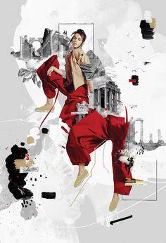 Explorers - Damien Vignaux is elroy - illustration and motion design Fashion Portfolio Layout, Fashion Design Sketchbook, Fashion Sketches, Portfolio Design, Art Sketchbook, Fashion Illustration Collage, Fashion Illustration Dresses, Fashion Collage, Collage Design