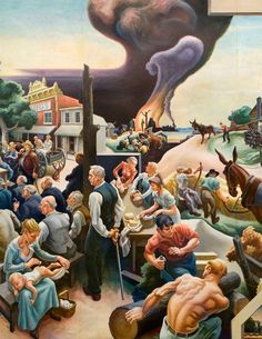 Thomas Hart Benton – A Social History Of The State Of Missouri (detail) Grant Wood, Art Deco Paintings, Colorful Paintings, Abstract Paintings, American Realism, American Artists, Jackson Pollock, Martha's Vineyard, Pinturas Art Deco