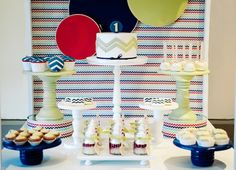 Chevron First Birthday Party Table by  Kiss My Cakes.